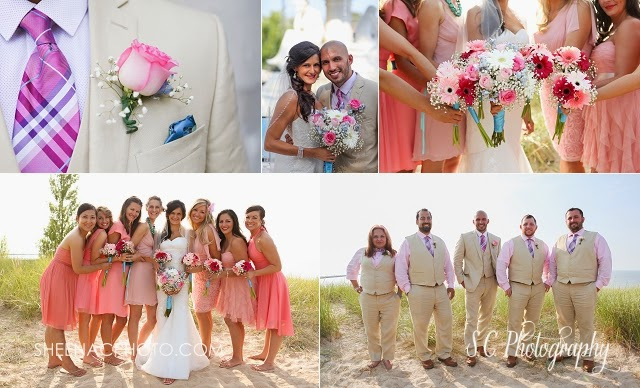 Pink khaki coral teal wedding beach portrait bridesmaid dressed
