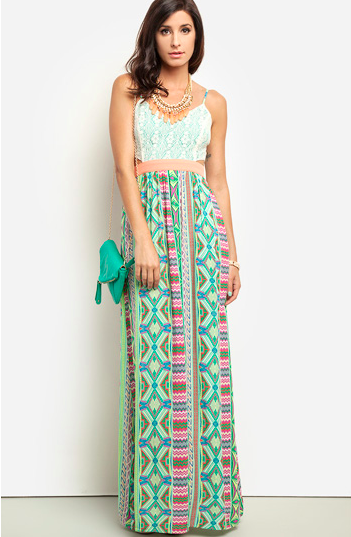 dailylook.com printed maxi dress with cutouts