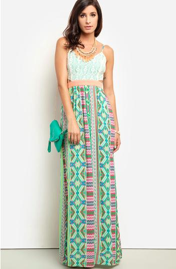 dailylook.com printed maxi dress with cutouts