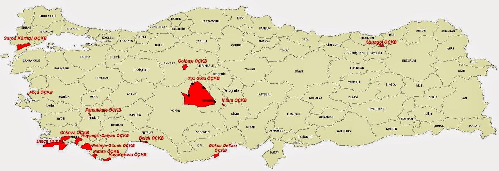T�rkiye �zel �evre Koruma B�lgeleri Haritas�