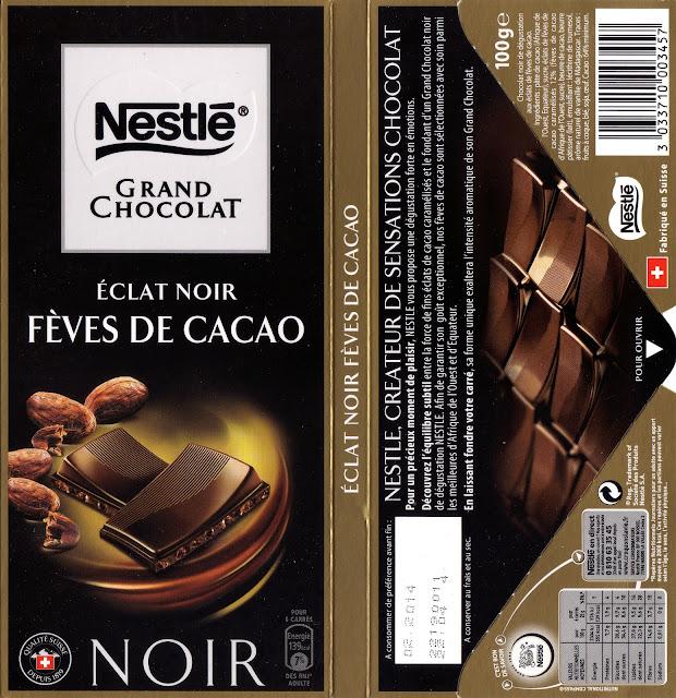 tablette de chocolat noir gourmand nestlé grand chocolat eclat noir fèves de cacao 2