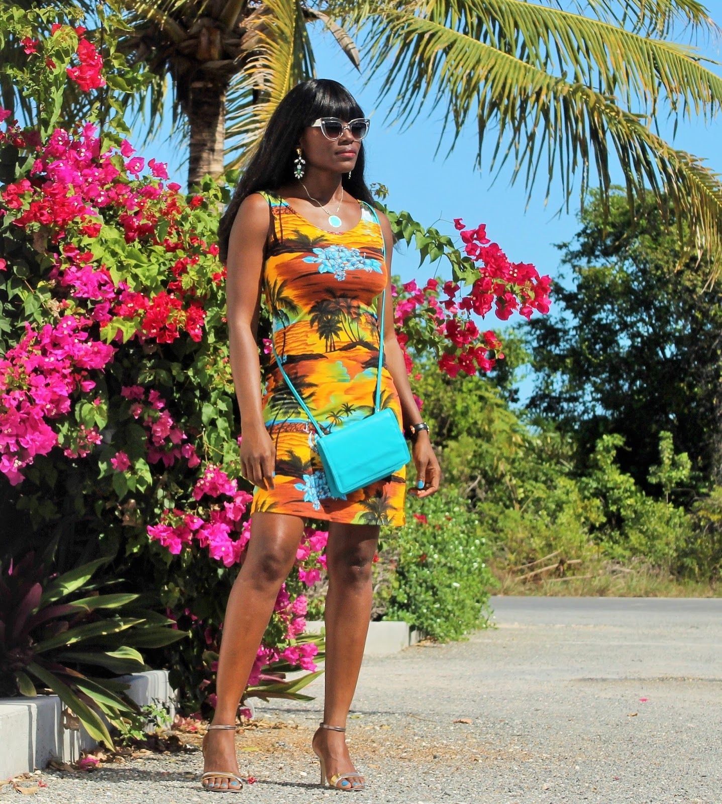 RESORT WEAR TROPICAL PRINT DRESS