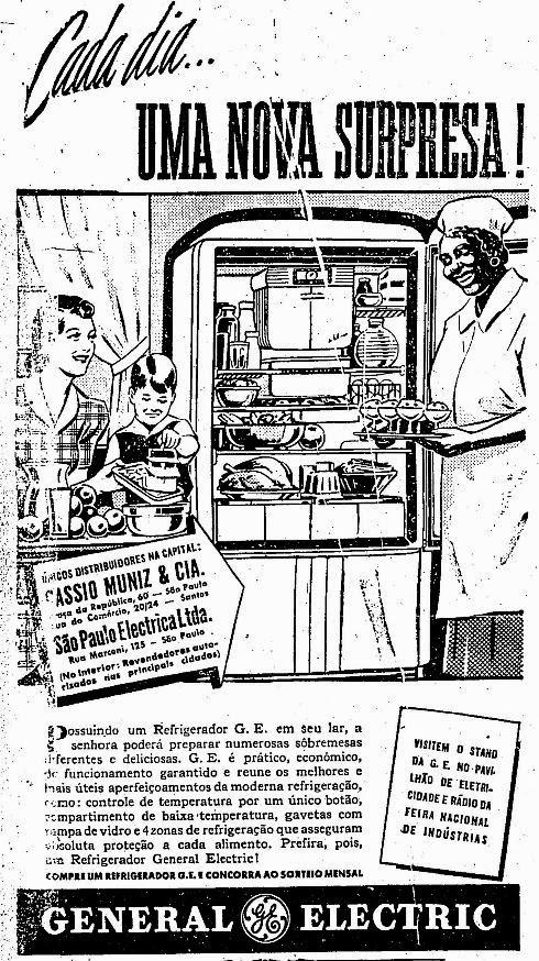 Propaganda da geladeira General Eletric dos anos 40.
