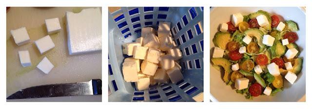 Receta de ensalada de aguacate y quesos con albahaca 02