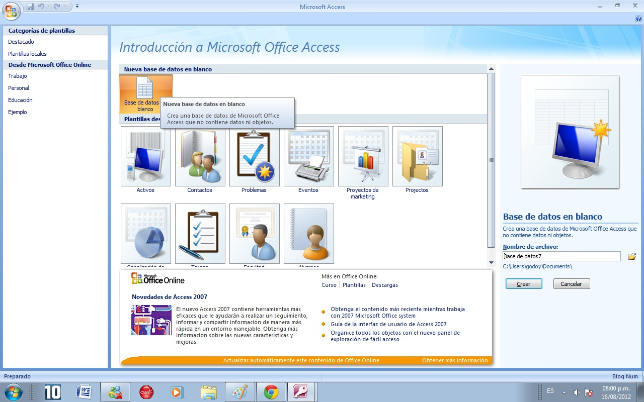 Microsoft Office Access 2007 Avanzado: Como puedo crear un ...