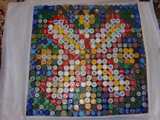 коврик из крышек, пластиковые бутылки
