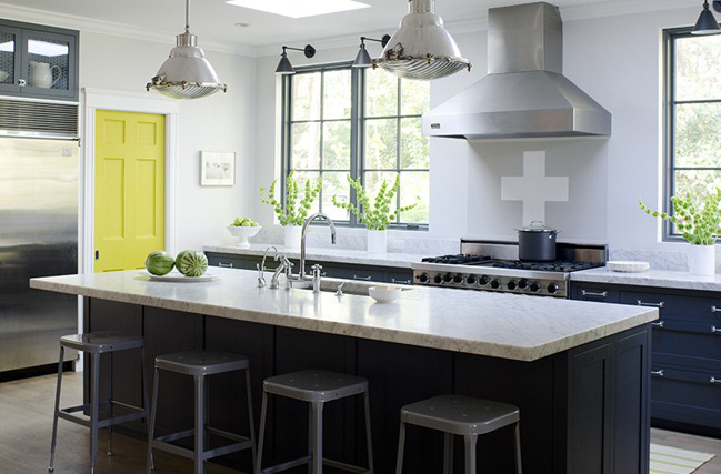 Stephmodo gorgeous gray kitchen with yellow accents Kitchen design without upper cabinets