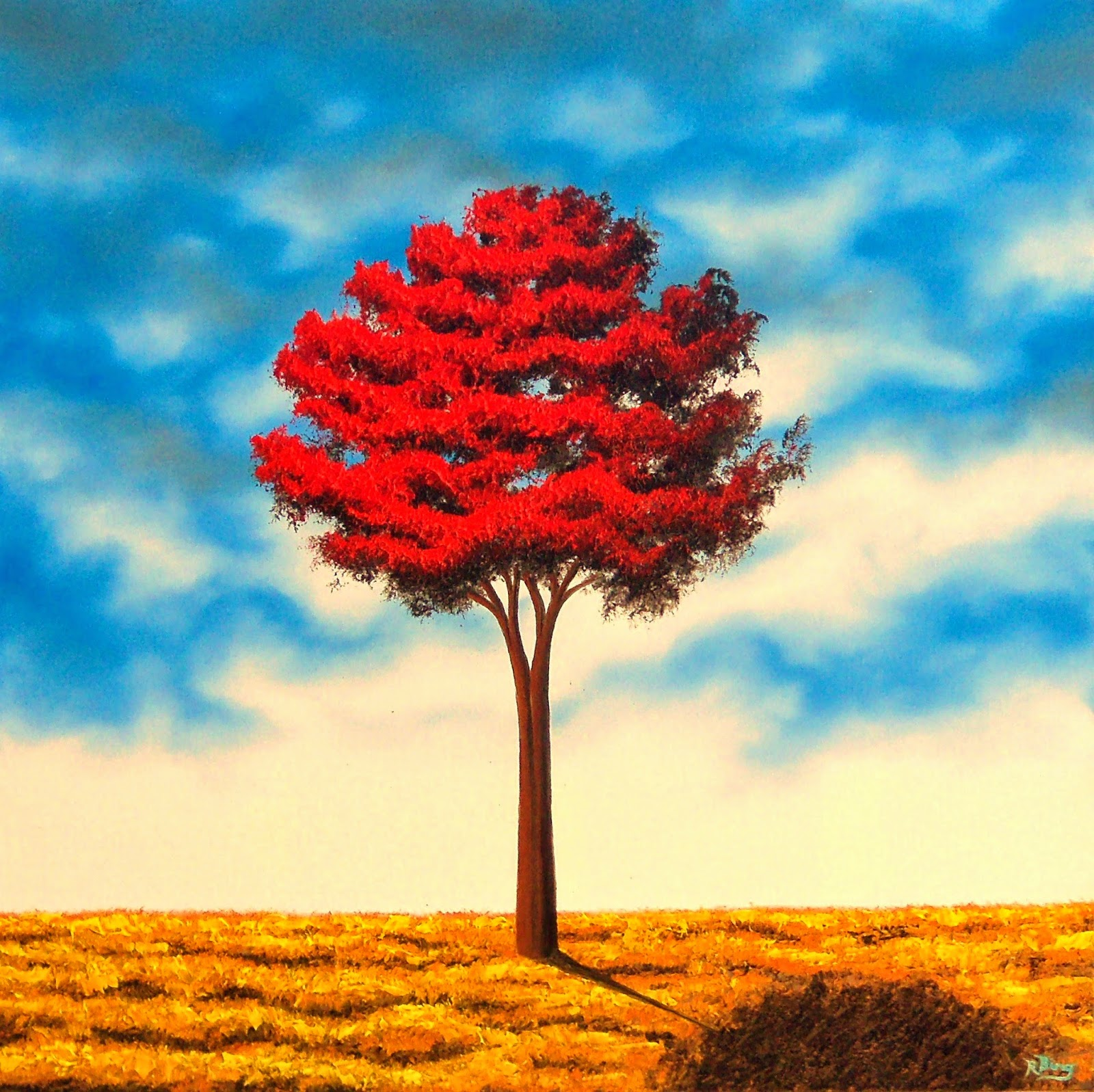 Contemporary Art Oil Painting, Red Tree Painting, Landscape Painting, 36 x  36, Original Oil Painting