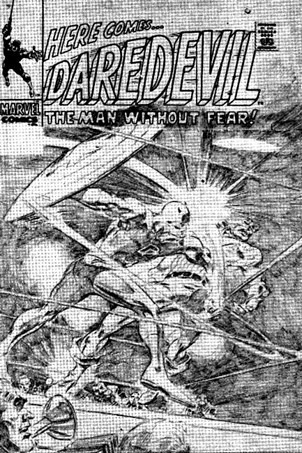 Rejected cover for Daredevil #43, Captain America vs Daredevil, Gene Colan art
