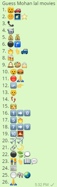 Guess Mohan Lal Movies Whatsapp Emoticons Quiz