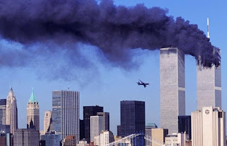 The South Tower at The World Trade Center, a split second before it was hit by a hijacked airliner
