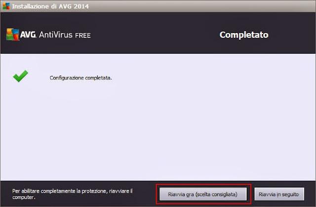 Configurazione AVG AntiVirus Free completata