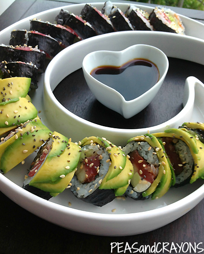 Homemade Sushi on Swirl Plate via Homegoods