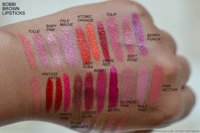 Bobbi Brown Best Lipsticks Swatches - Tulle Baby Pink Pale Mauve Lady Ruba Atomic Orange vixen Red Tulip Berry Punch Vintage Red Party Pink Plum Shimmer Berry Hot Berry Blondie Pink Pale Pink Pink Nectar