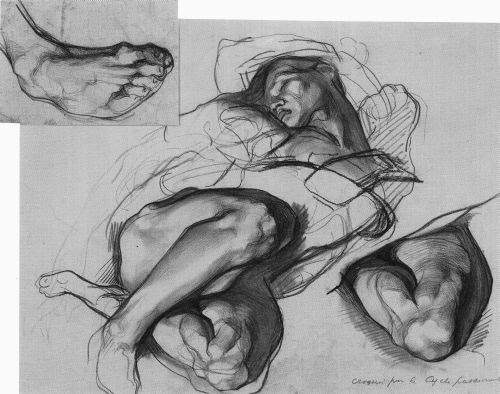 Crayon noir sur papier de Jean Delville