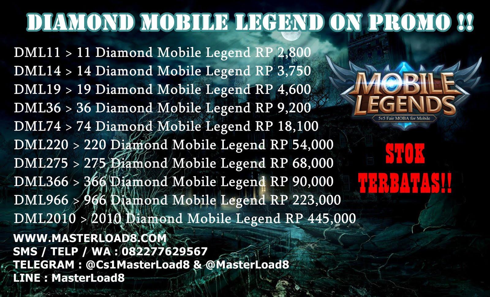 Diamond Mobile Legend On Promo Server Pulsa Masterload8 Topup 220 Diamonds