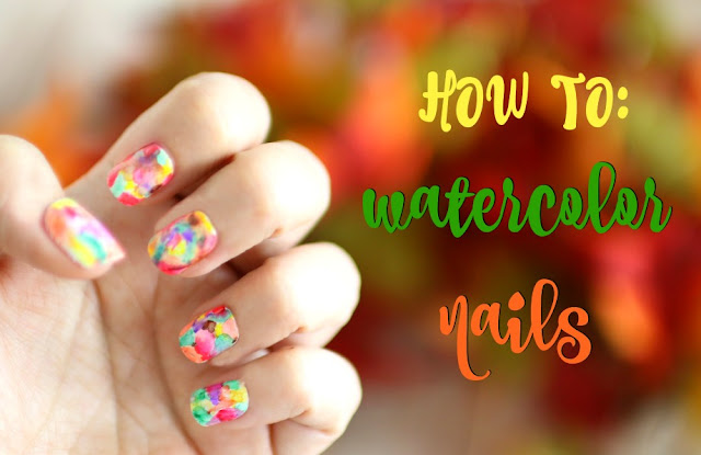 how to autumn water color nails