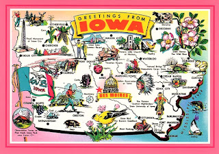 Map of Iowa on a postcard