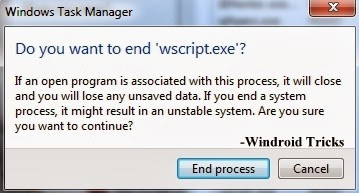 How to stop a Visual Basic Script (.vbs) Manually using Windows Task Manager