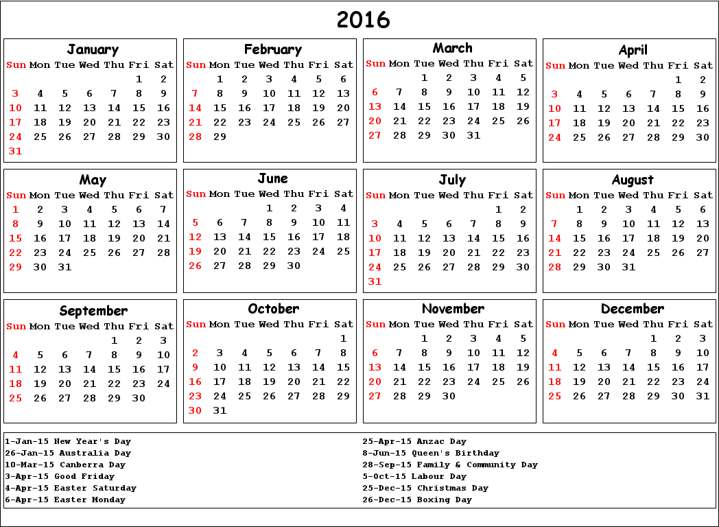 Printable 2016 Calendar with Australian Holidays Excel PDF, 2016 ...
