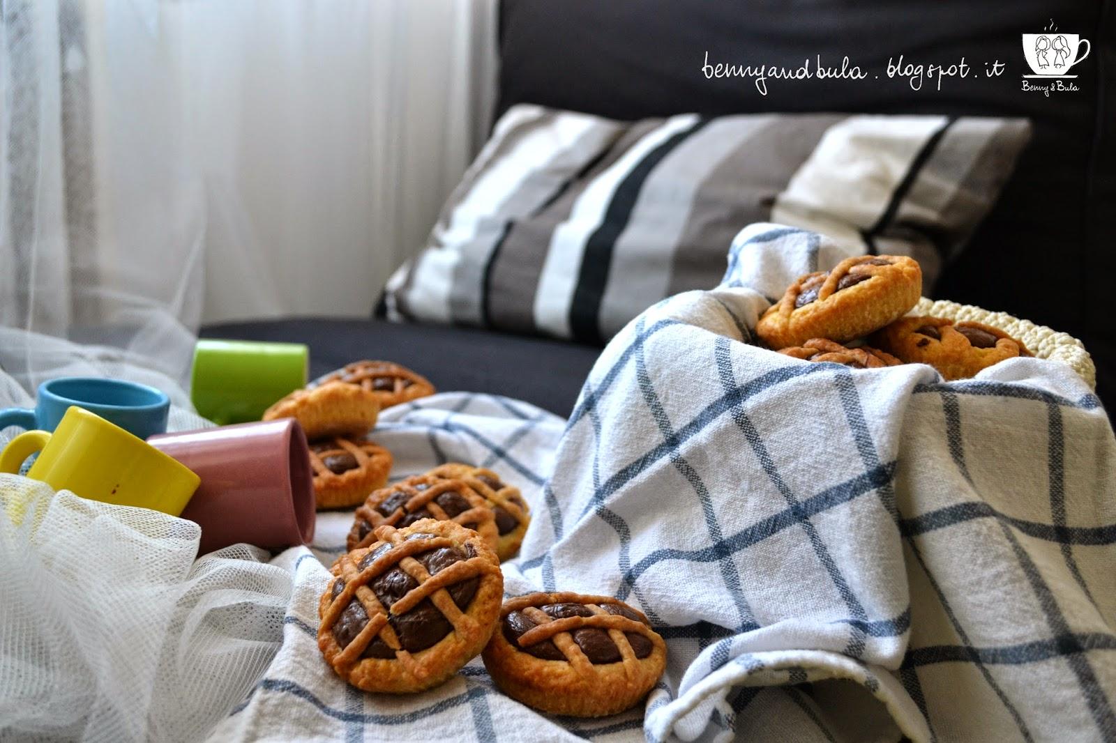 ricetta crostatine alla nutella, pasta frolla per crostata con crema cioccolato e nocciole/ chocolate nutella mini tarts recipe