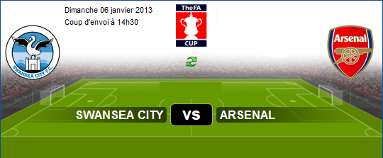 Coupe d'Angleterre : Live Match Swansea City vs Arsenal le 06/01/2013