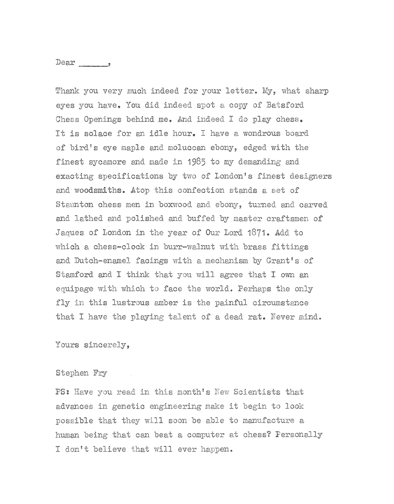 words after type o matic treatment originally published in kingpin the satirical chess magazine beneath the letter is an example of a typed envelope - An Example Of A Letter