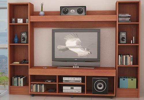 Muebles de melamina y madera plano de mueble para tv for Quiero ver cocinas