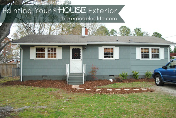 diy painting your house exterior green and gray paint