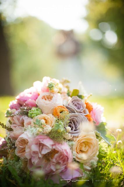 Bouquet of roses, purple roses, cream roses, orange roses, pink roses, bridal bouquet