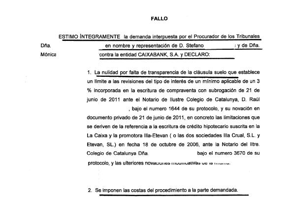 Otra cl usula suelo de la caixa eliminada judicialmente a for Reclamacion hipoteca suelo