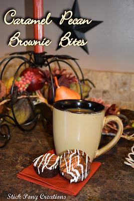 Caramel Pecan Brownie Bites filled with a special caramel filling. #BiteSizedBliss