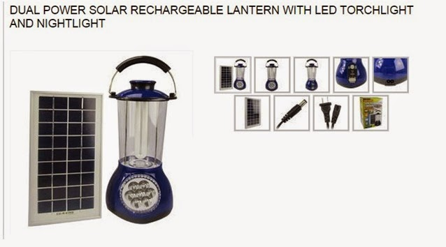 Dual Power Solar Rechargeable Lantern with LED Torchlight and Nightlisght