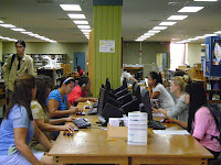 Students at computer stations in the Library