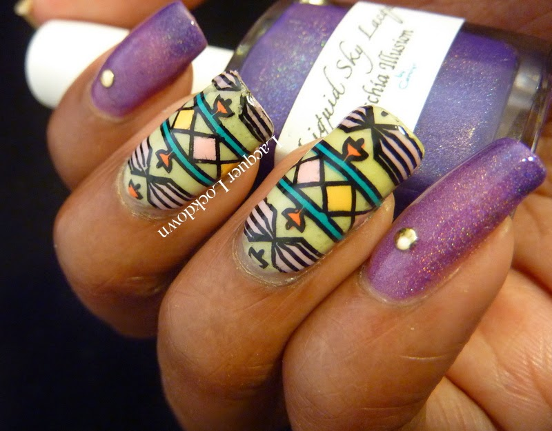 Lacquer Lockdown: Cici & Sisi Tribal Nail Art feat Liquid Sky Lacquer