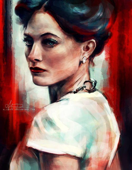 Alice X. Zhang alicexz deviantart pinturas de filmes séries Irene Adler da versão Sherlock da BBC