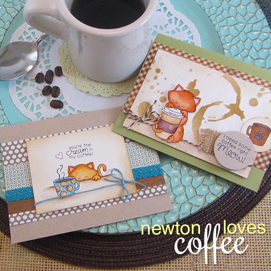 Coffee Cat Cards by Jennifer Jackson | Newton Loves Coffee Stamp set by Newton's Nook Designs #newtonsnook #coffee