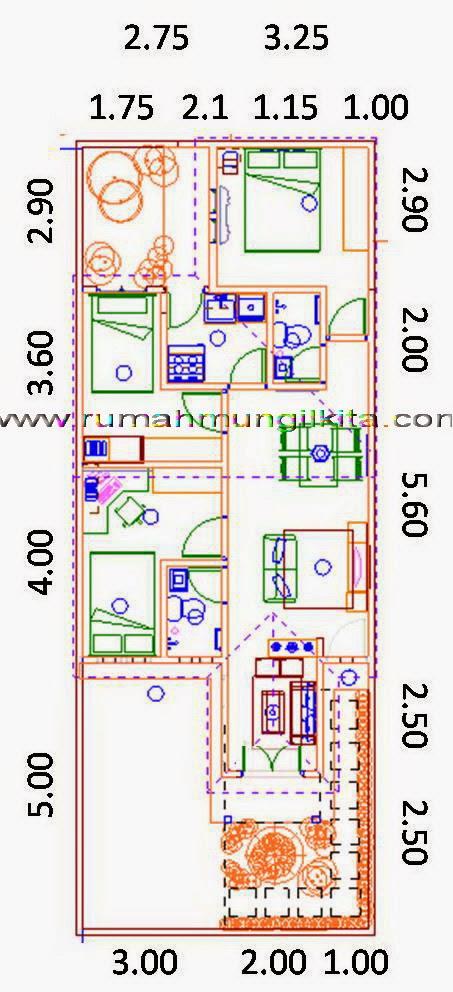 renovasi rumah dengan lebar 6 meter - denah 2 dimensi