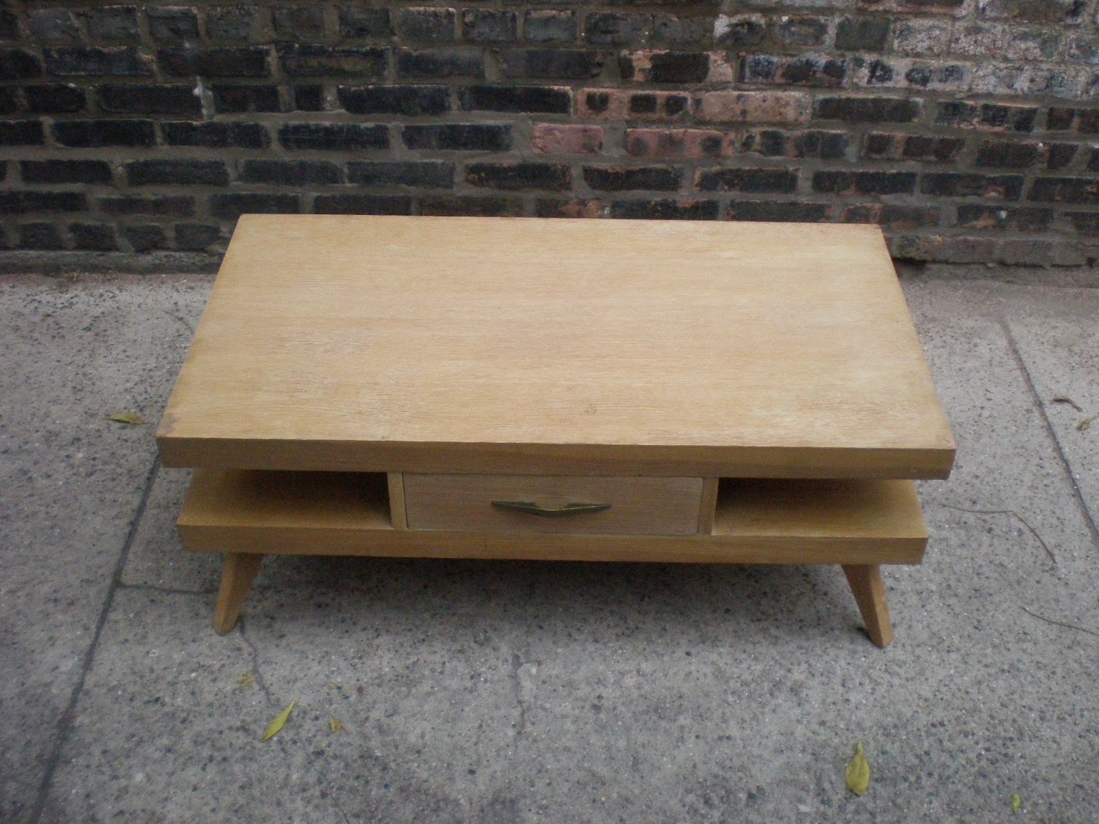 mid century chicago springfield furniture works blonde coffee table