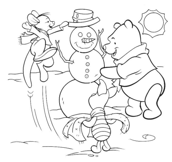 WINNIE THE POOH CHRISTMAS PRINT AND COLOR title=