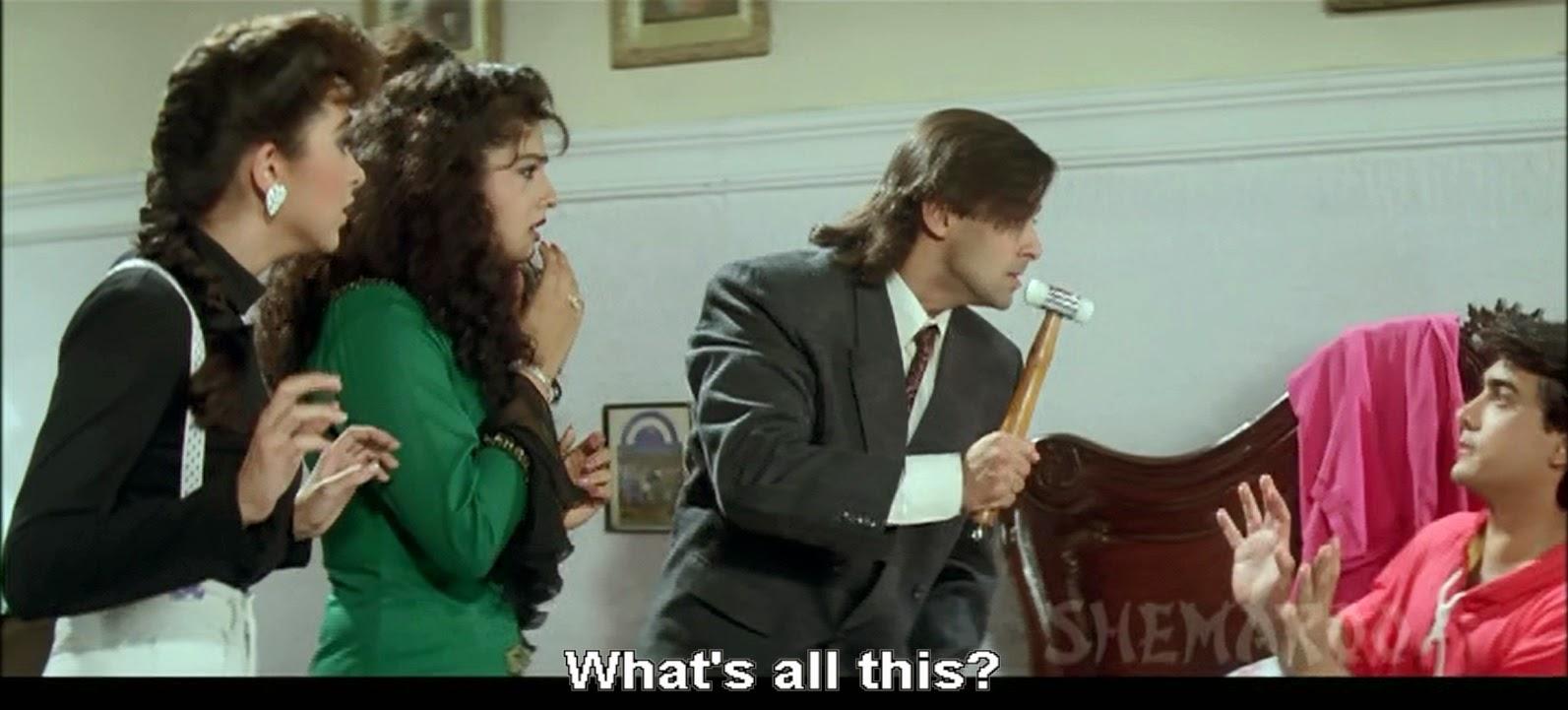 Karisma Kapoor, Raveena Tandon, Salman Khan, Aamir Khan