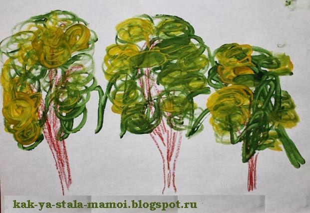 деревья, нарисованные с помощью ватной палочки, осеннее дерево, рисуем осеннее дерево, творчество с детьми,