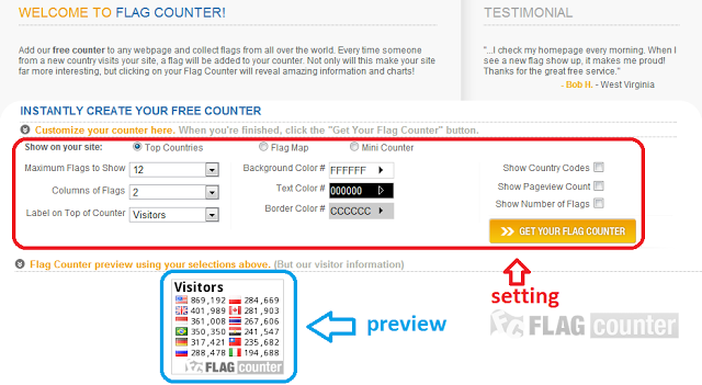 Cara Membuat dan Memasang Flag Counter di Blog ( setting )