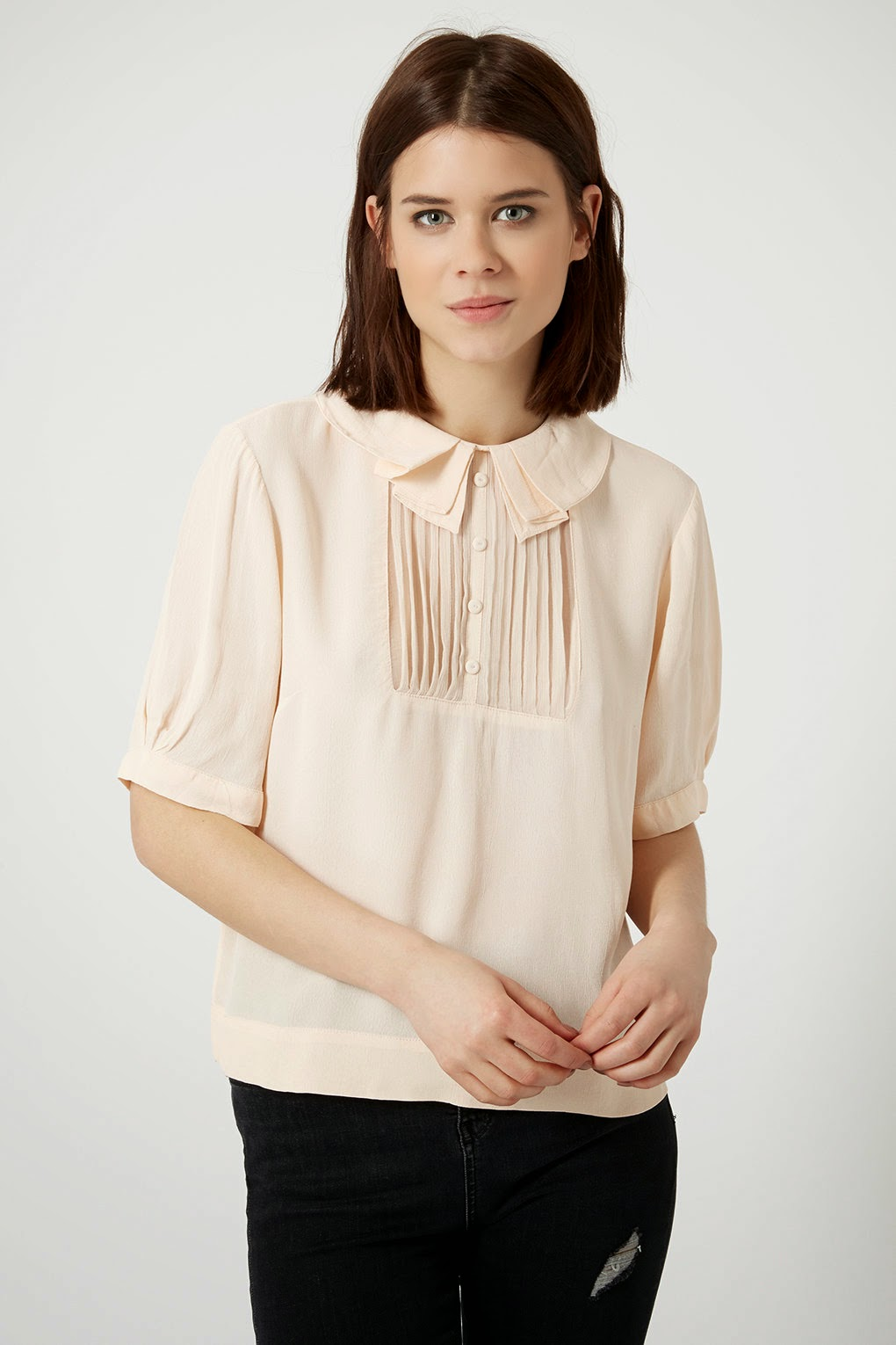 peach bib blouse, topshop peach blouse,