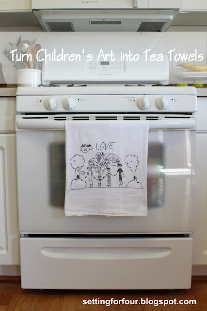 Gift Idea! Kid's Art made into Tea Towel from Setting for Four # diy #tutorial #gift #craft #activity #kid #child #towel