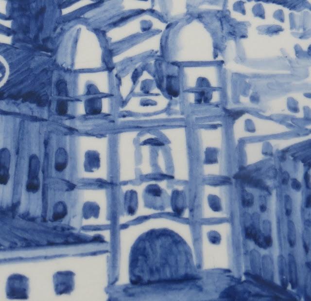 Ampliação do Painel de azulejos no Monte Brasil com pormenor da Igreja da Misericórdia no Pátio da Alfândega