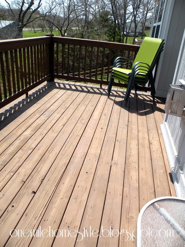 Deck and green chairs - before