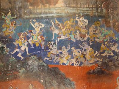 Ramayana mural, battle scene, Silver Pagoda, Phnom Penh, Cambodia