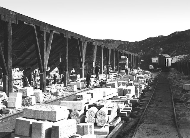 Granite dressing sheds at De Lank quarries, St. Breward, Cornwall. Looking west-north-west. The De Lank quarries work the coarse-grained, grey granites of Bodmin Moor.
