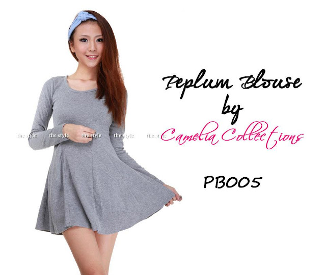 cotton peplum blouse grey